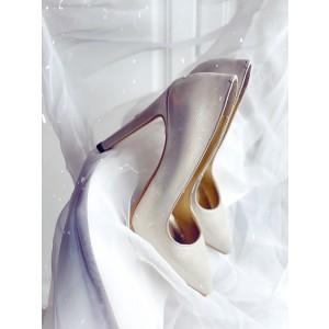 Pantofi dama stiletto argintii din piele naturala