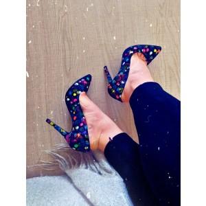 Pantofi dama stiletto negru multicolor din piele naturala