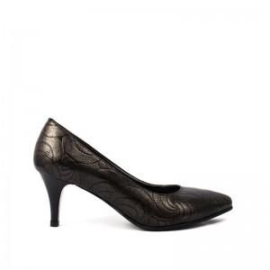 Pantofi dama pumps negru flori din piele naturala