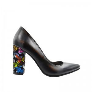 Pantofi dama stiletto piele negri toc gros multicolor