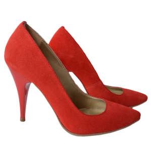 Pantofi dama stiletto piele naturala rosie