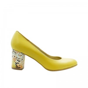 Pantofi de dama galben cu toc multicolor