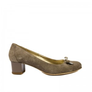 Pantofi dama cu toc si funda piele gri
