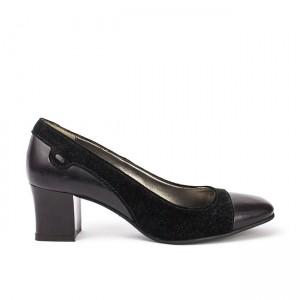 Pantofi dama din piele naturala cu toc negri