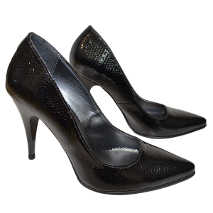 Pantofi dama cu toc stiletto din piele neagra