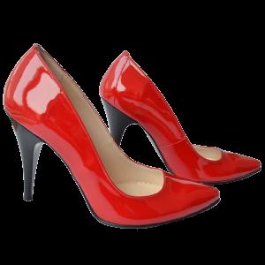Pantofi dama stiletto piele lacuita rosie