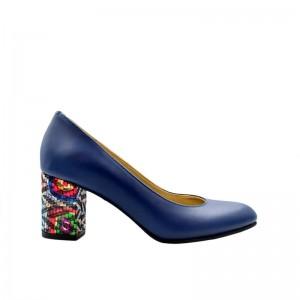 Pantofi de dama bleumarin cu toc multicolor