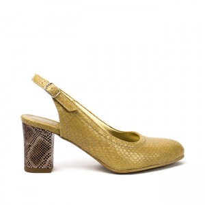 Sandale dama cu toc gros din piele crem