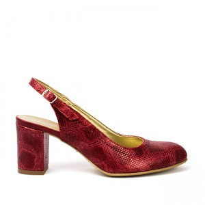 Sandale dama din piele naturala imprimata sarpe rosii