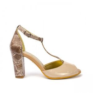 Sandale dama din piele naturala cu toc bej