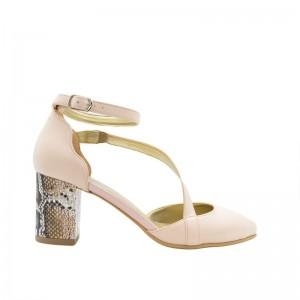 Sandale dama cu toc gros piele naturala roz