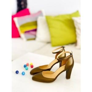 Sandale dama elegante piele naturala bronze