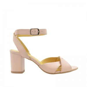 Sandale dama cu toc din piele naturala nude roz