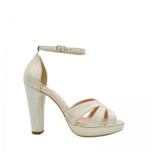 Sandale dama cu platforma argintiu