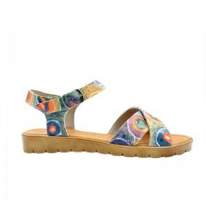 Sandale dama fara toc piele naturala paun multicolor