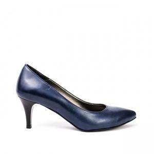 Pantofi dama stiletto cu toc mic bleumarin