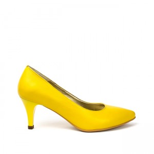 Pantofi dama stiletto cu toc mic din piele galbena